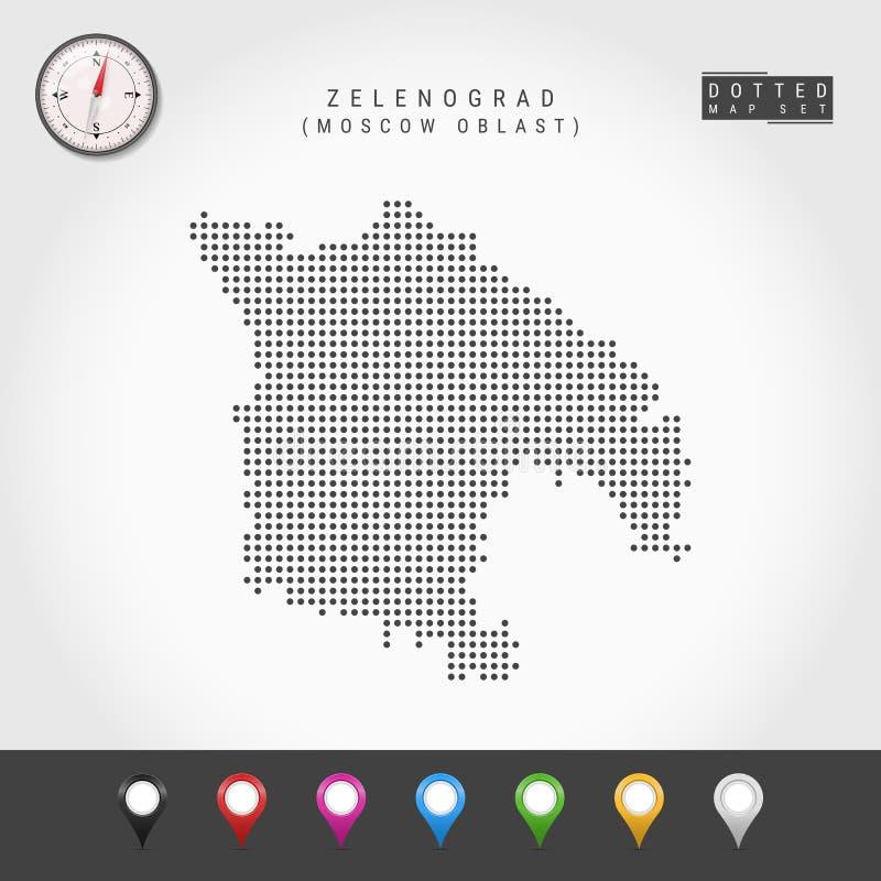 Vecteur Dots Map de Zelenograd, boussole de vecteur de Moscou Oblast Goupilles multicolores de carte illustration stock