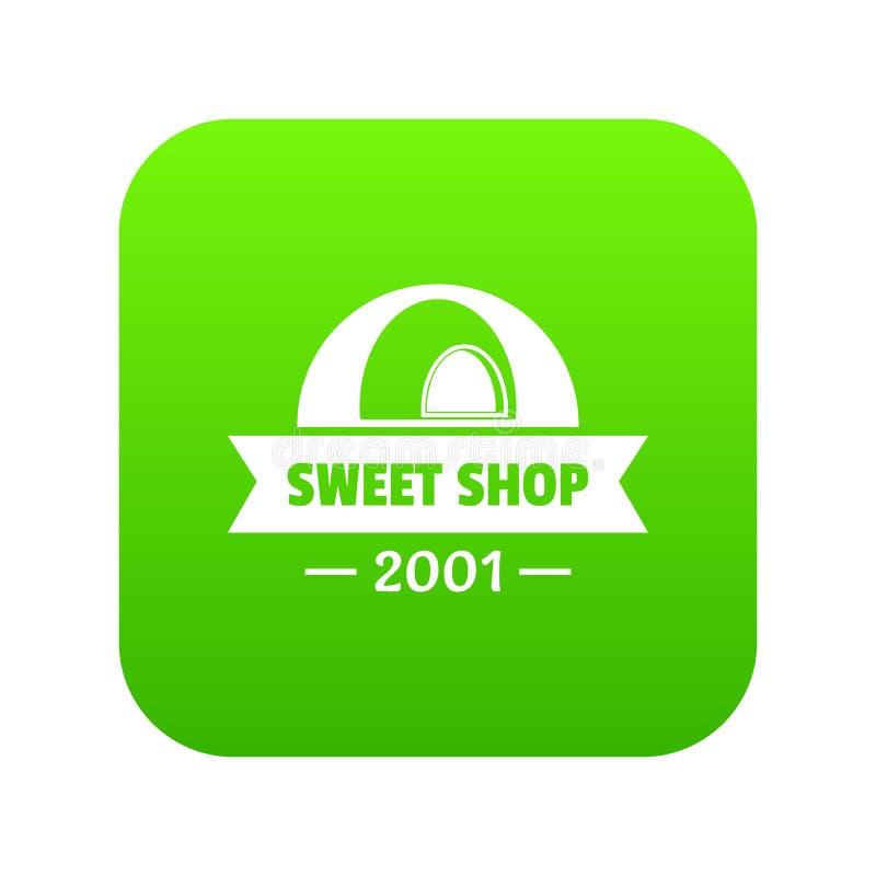 Vecteur doux de vert d'icône de boutique de caramel illustration stock