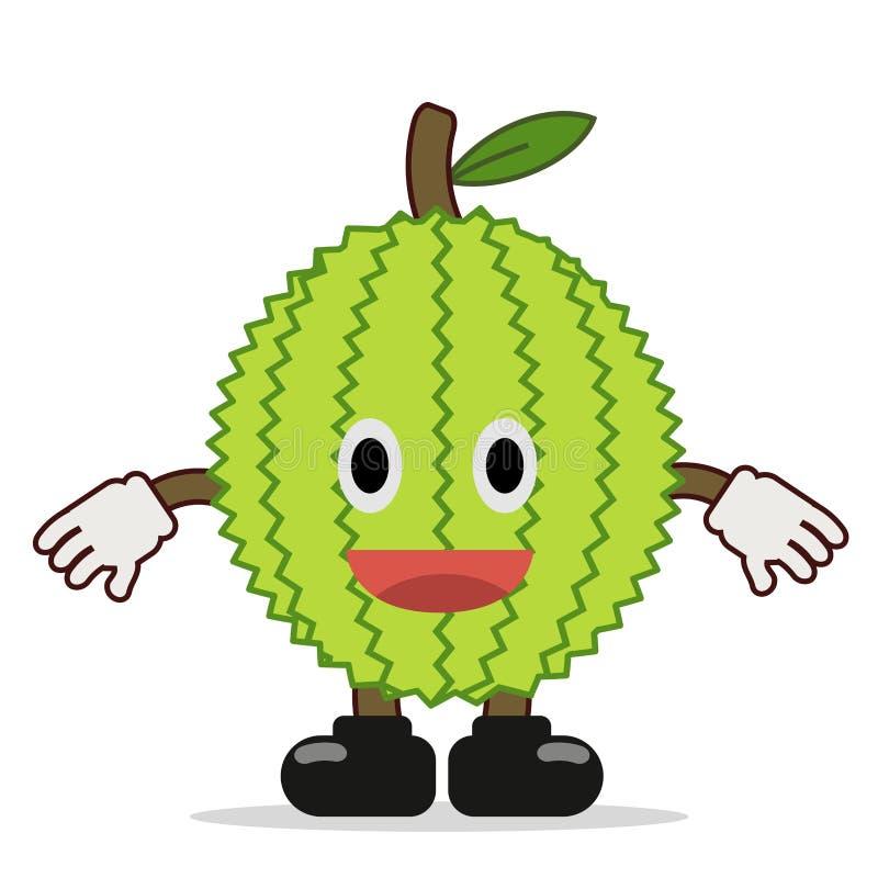 Vecteur dr?le de conception de caract?re mignon de durian illustration stock