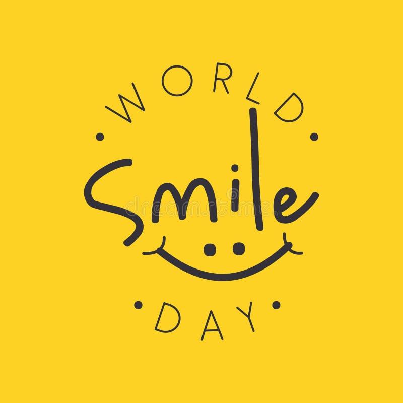 Vecteur drôle de jour de sourire du monde de conception d'emblème sur le fond jaune illustration libre de droits
