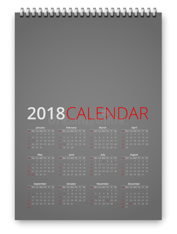 Vecteur du calendrier 2018 illustration stock
