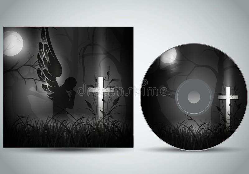 Vecteur du calibre de couverture de Cd 3d avec un ange priant devant une tombe foncée illustration stock