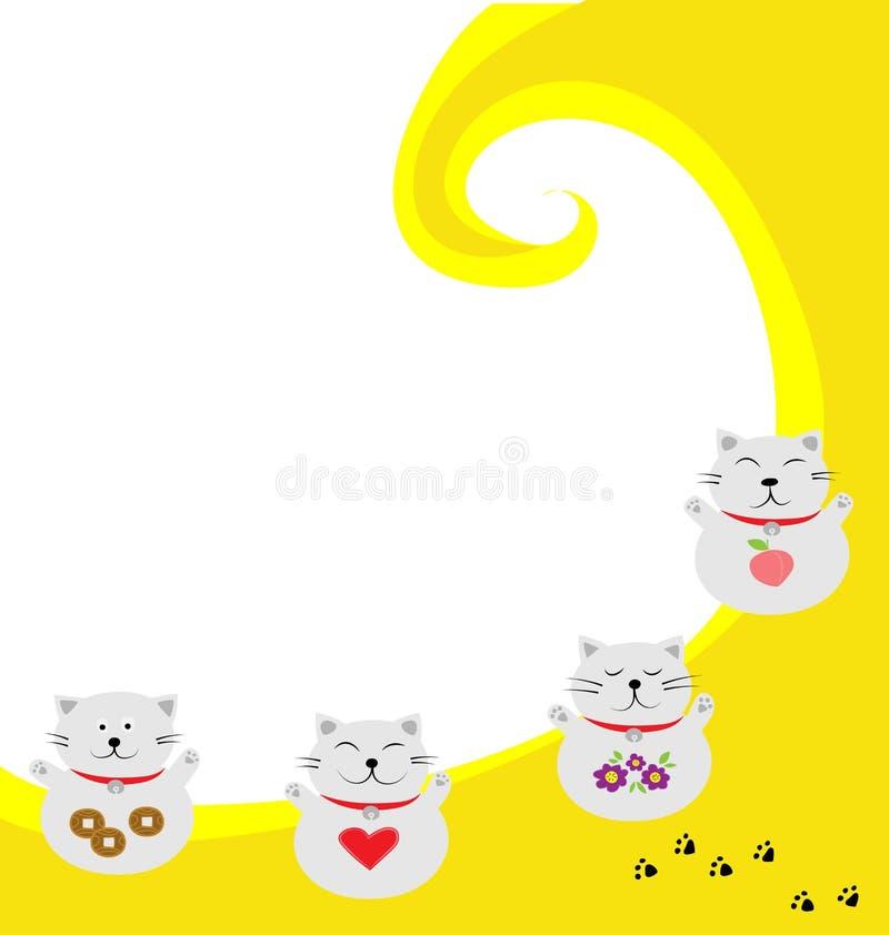 Vecteur du chat quatre chanceux de sourire avec le fond jaune et blanc illustration stock
