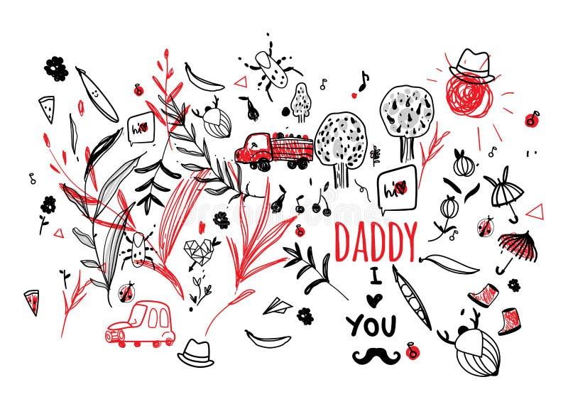 Vecteur du jour de père Enfant d'image au jour de son père - papa, je t'aime Moustache, chapeau, ligne mignonne de dessin d'été illustration stock