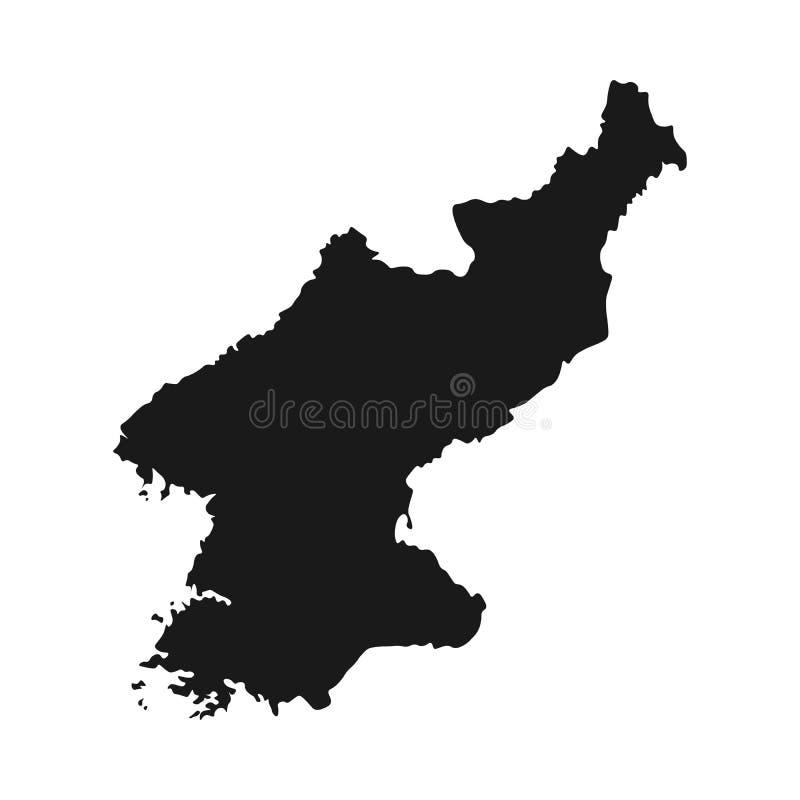 Vecteur du nord d'illustration de carte de la Corée pays blanc d'isolement illustration stock