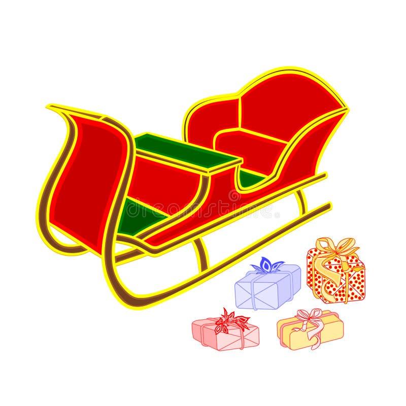 Vecteur du traîneau et des cadeaux de Santa illustration libre de droits