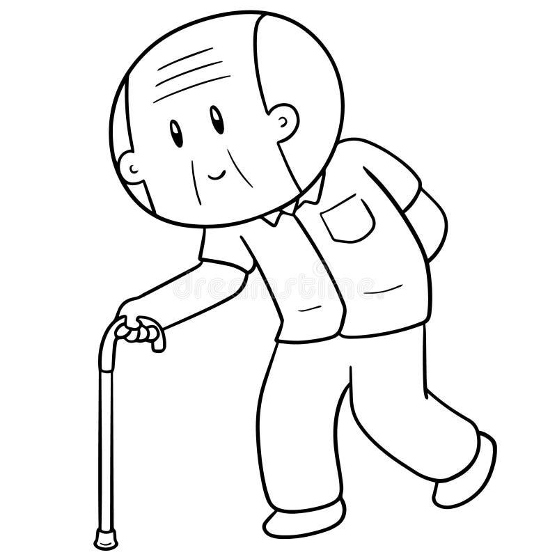 Vecteur du vieil homme à l'aide de la canne illustration libre de droits