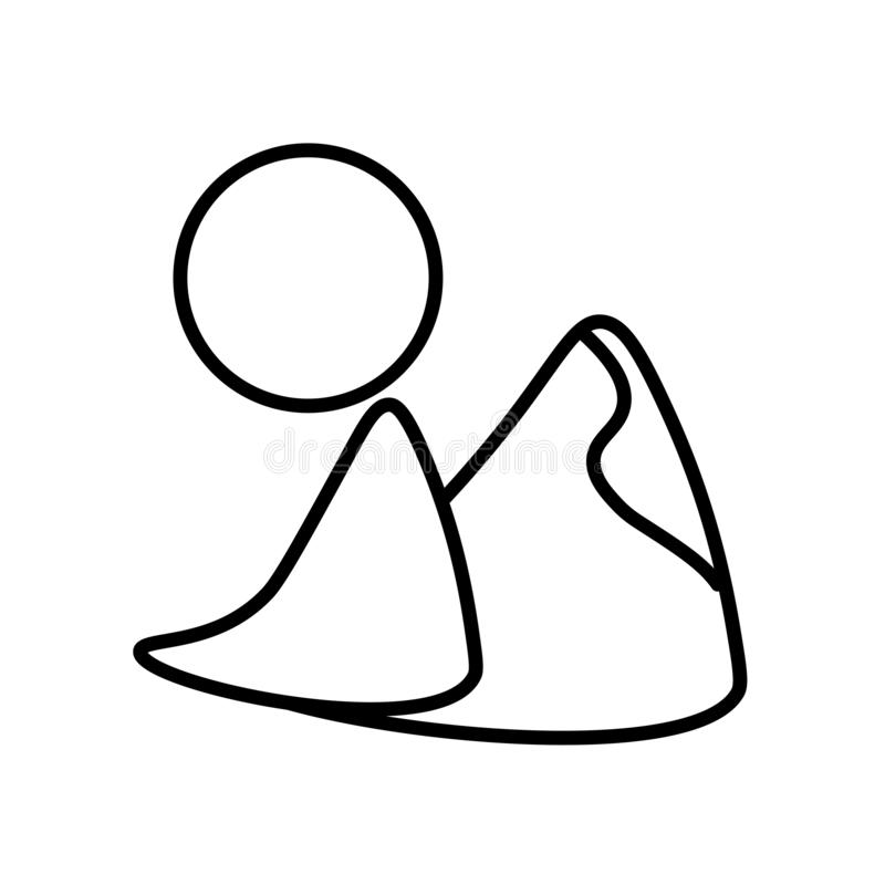 Vecteur dunaire d'icône d'isolement sur le fond blanc, le signe dunaire, la ligne ou le signe linéaire, conception d'élément dans illustration de vecteur