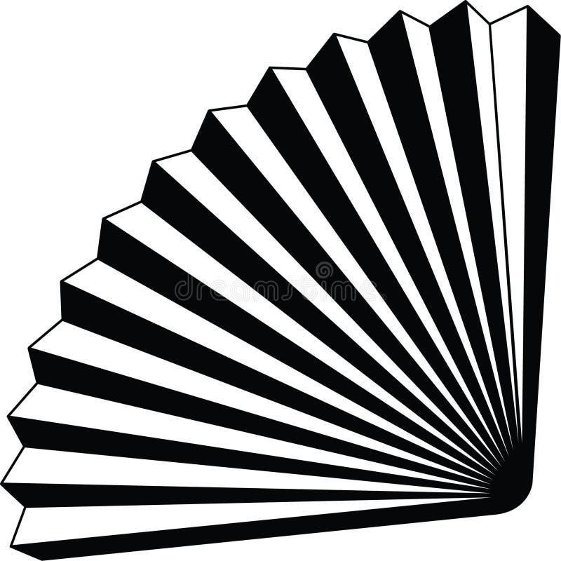 Vecteur editable entièrement resizable de papier d'icône d'origame de fan dans la couleur noire illustration stock