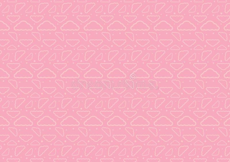 Vecteur editable resizable sans couture de modèle de nuage de temps de sommeil de bébé complètement dans la couleur rose illustration libre de droits