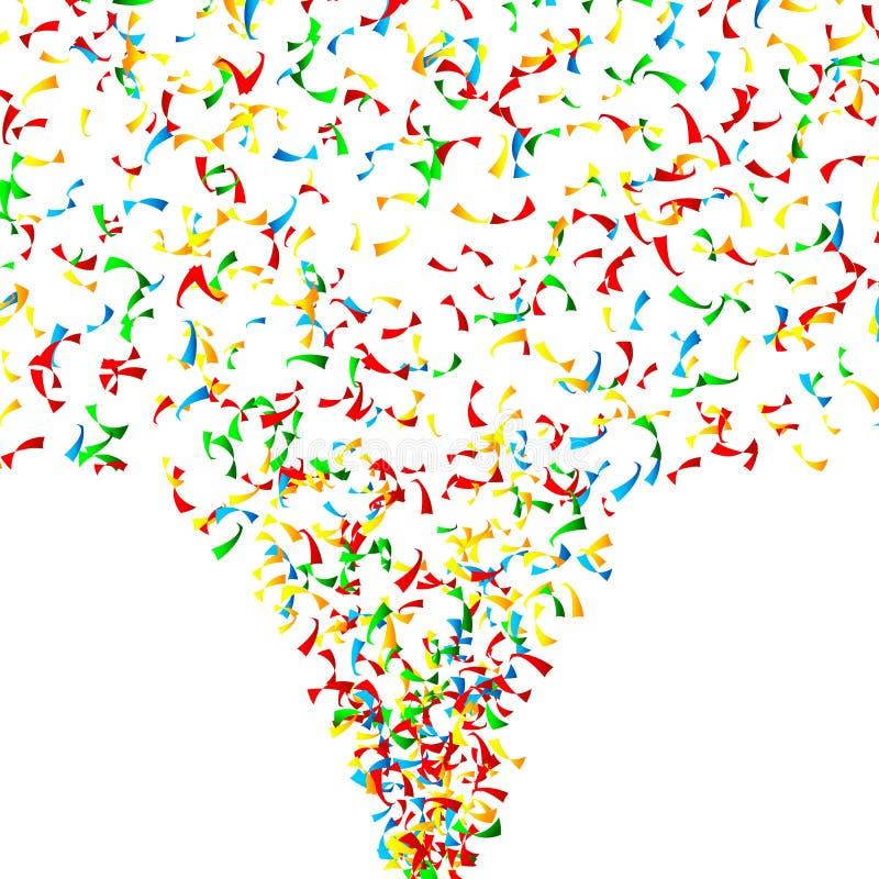 Vecteur en baisse de confettis Explosion lumineuse d'isolement sur le blanc Fond pour l'anniversaire, anniversaire, partie, vacan illustration libre de droits