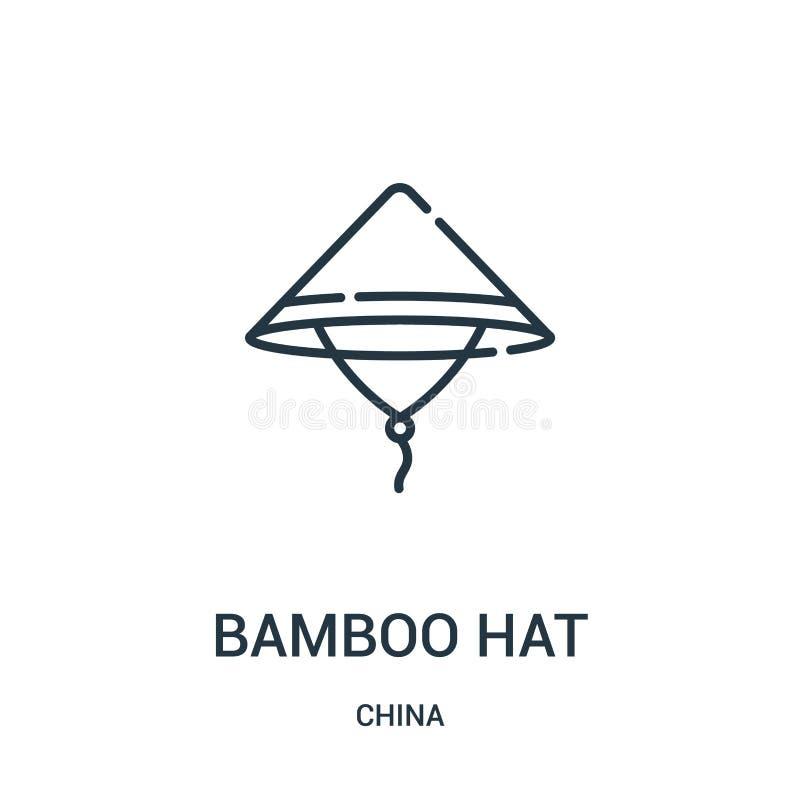 vecteur en bambou d'icône de chapeau de collection de porcelaine Ligne mince illustration en bambou de vecteur d'icône d'ensemble illustration libre de droits