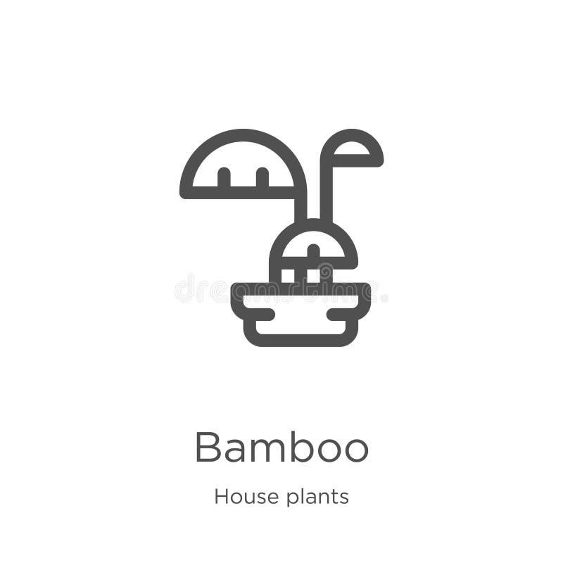 vecteur en bambou d'icône de collection d'usines de maison Ligne mince illustration en bambou de vecteur d'ic?ne d'ensemble Conto illustration stock
