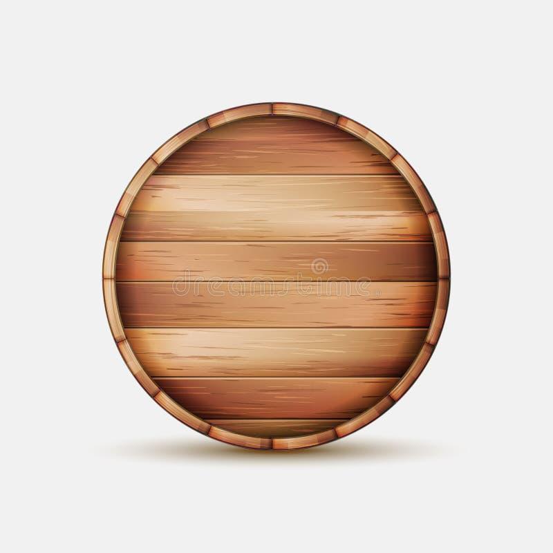 Vecteur en bois de signe de baril Enseigne en bois de baril pour le café, le restaurant, les Bistros, la brasserie, la bière, le  illustration libre de droits