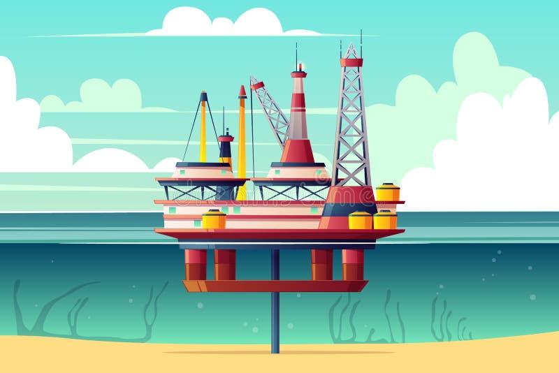 Vecteur en coupe de bande dessinée de plateforme pétrolière d'étagère illustration stock