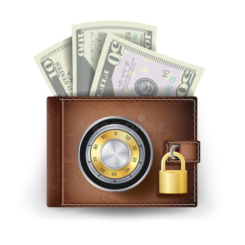 Vecteur en cuir classique de portefeuille Verrouillé avec la serrure de code de combinaison Concept sûr de finances D'isolement s illustration de vecteur