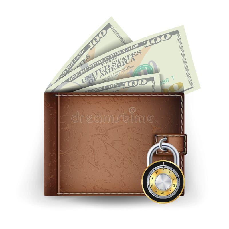 Vecteur en cuir de portefeuille Verrouillé avec la serrure de combinaison Concept sûr de finances modernes Illustration d'isoleme illustration libre de droits