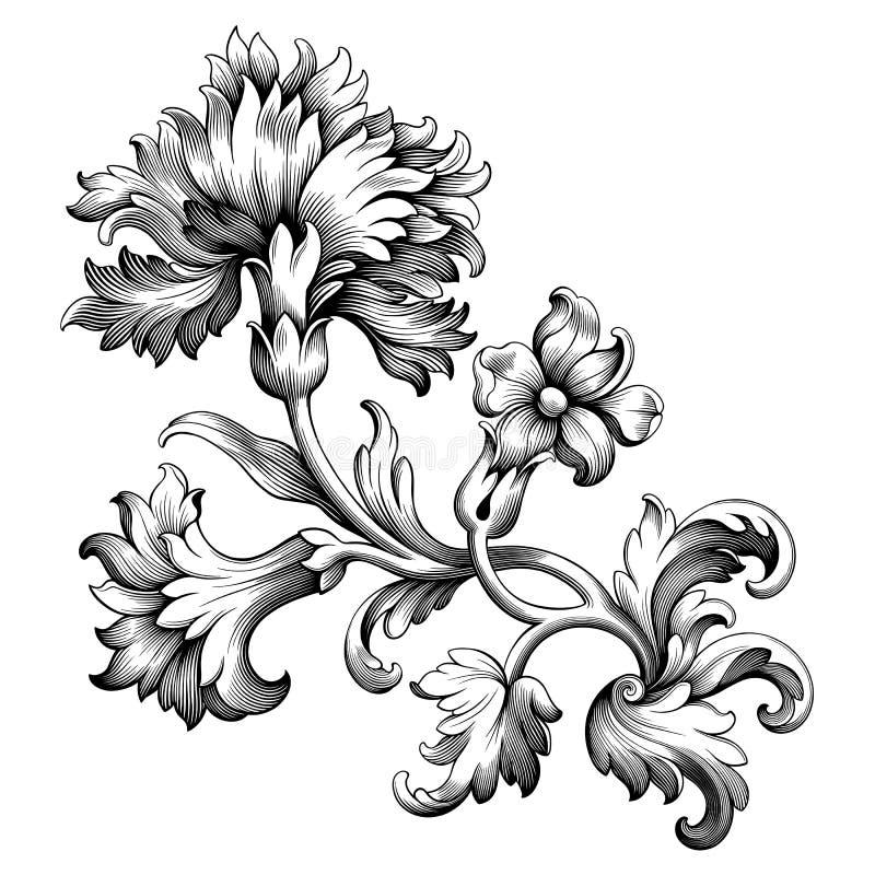 Vecteur en filigrane de rétro tatouage de modèle gravé par rouleau victorien baroque d'ornement floral de frontière de cadre de v illustration stock
