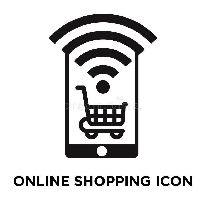 Vecteur en ligne d'icône d'achats d'isolement sur le fond blanc, logo c illustration stock