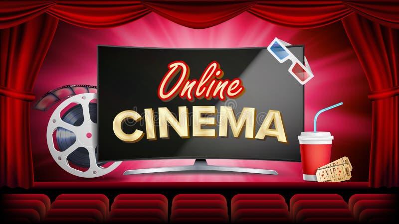 Vecteur en ligne de cinéma Bannière avec le moniteur d'ordinateur Rideau rouge Théâtre, 3D verres, cinématographie de film-bande  illustration stock