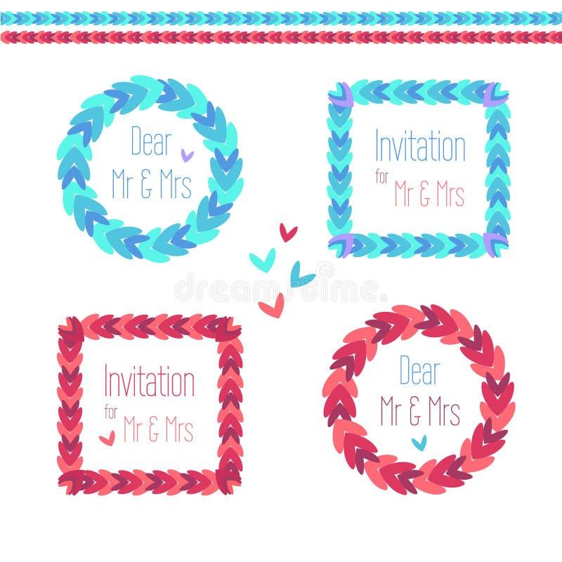 Vecteur en rond et ensemble carré de guirlande illustration de vecteur