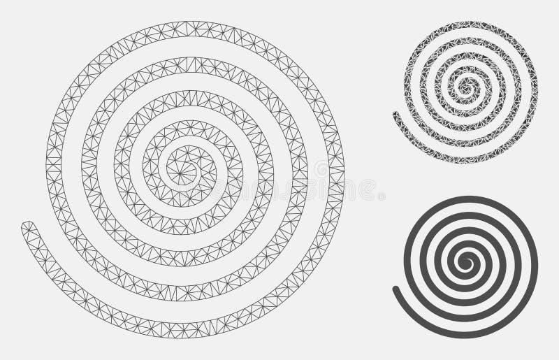 Vecteur en spirale Mesh Network Model d'hypnose et icône de mosaïque de triangle illustration de vecteur