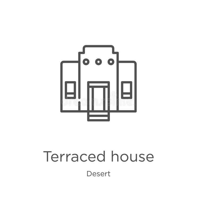vecteur en terrasse d'icône de maison de collection de désert Ligne mince illustration en terrasse de vecteur d'icône d'ensemble  illustration stock