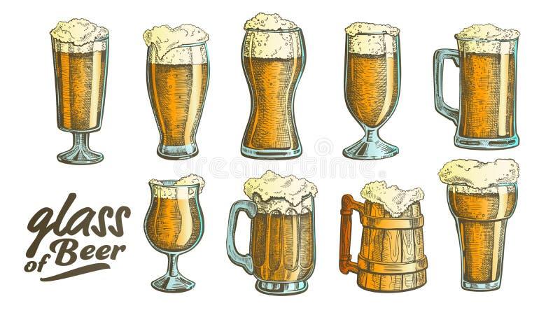 Vecteur en verre tiré par la main d'ensemble de bière de bulle de mousse de couleur illustration stock