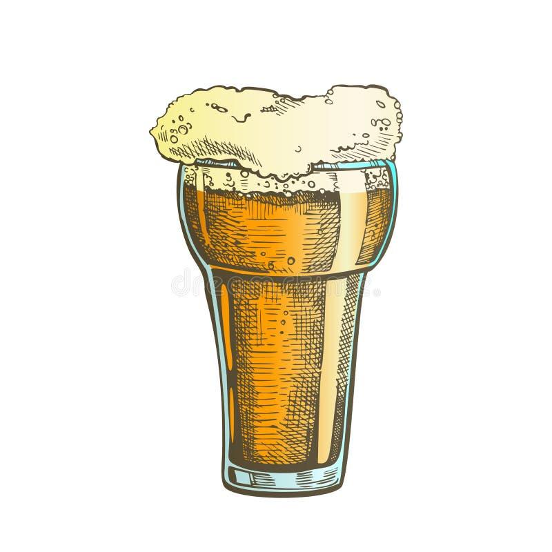 Vecteur en verre tiré par la main de boissons de bulle de mousse de couleur illustration stock