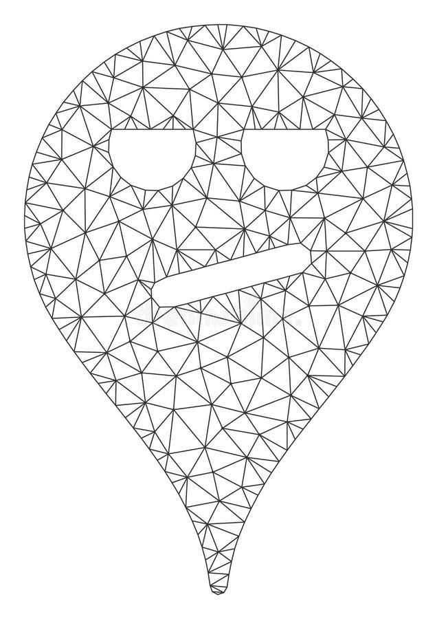 Vecteur ennuy? Mesh Illustration de Smiley Map Marker Polygonal Frame illustration de vecteur