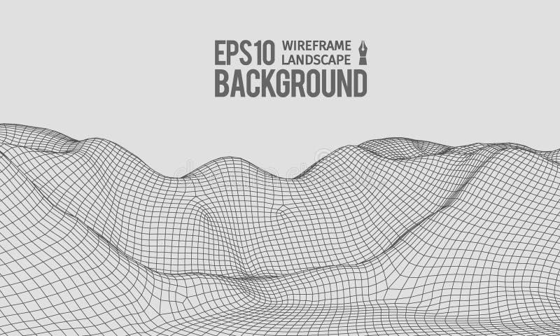 vecteur EPS10 grand-angulaire de terrain de 3D Wireframe illustration de vecteur