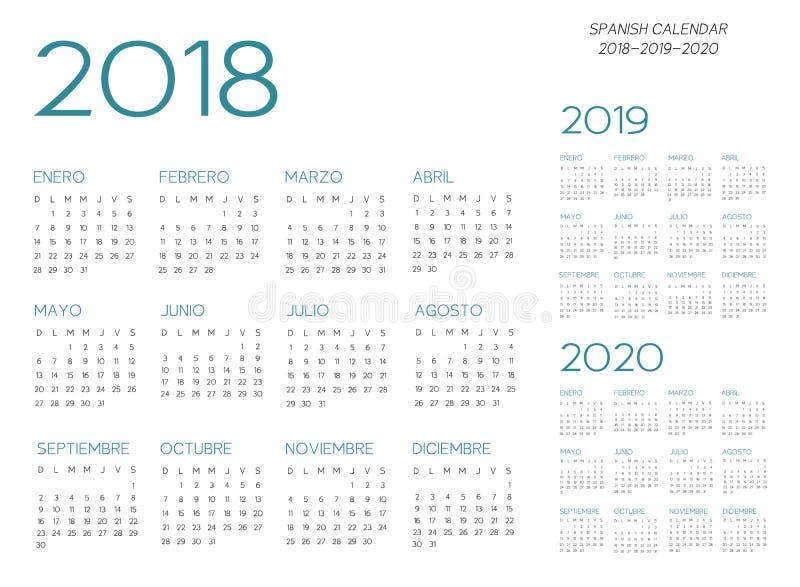 Vecteur espagnol du calendrier 2018-2019-2020 illustration stock