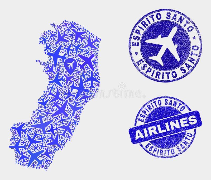 Vecteur Espirito Santo State Map de composition en avion et joints grunges illustration libre de droits