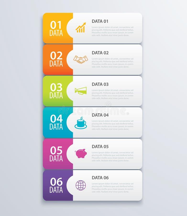vecteur et vente infographic de conception de bannière d'index de l'étiquette 6 illustration stock