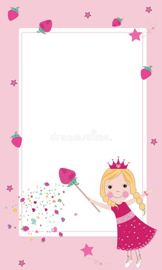Vecteur féerique de cadre de fraise mignonne illustration libre de droits