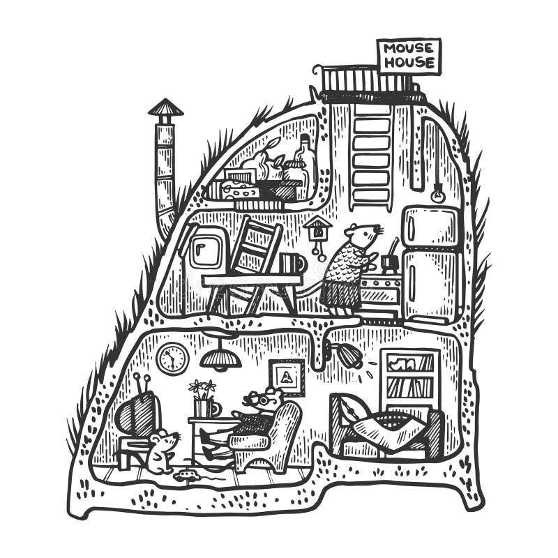 Vecteur fabuleux fantastique de gravure de maison de souris illustration stock