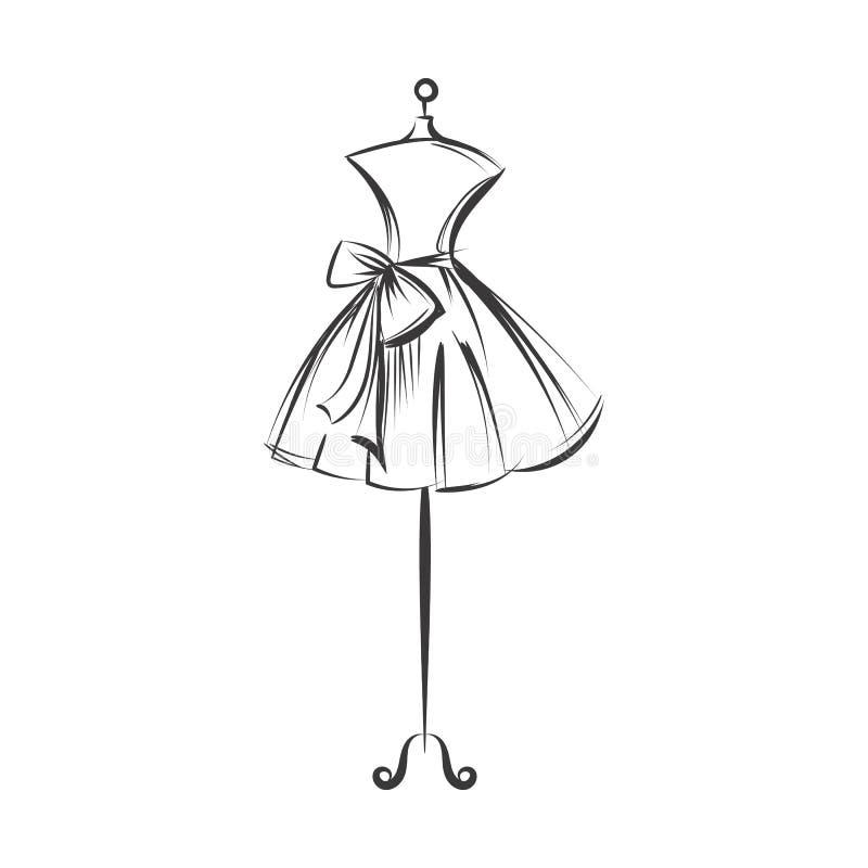 Vecteur factice d'illustration de dessin de main de robe illustration libre de droits
