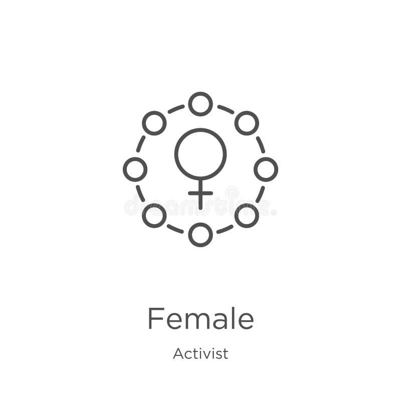 vecteur femelle d'icône de collection d'activiste Ligne mince illustration femelle de vecteur d'icône d'ensemble Contour, ligne m illustration stock