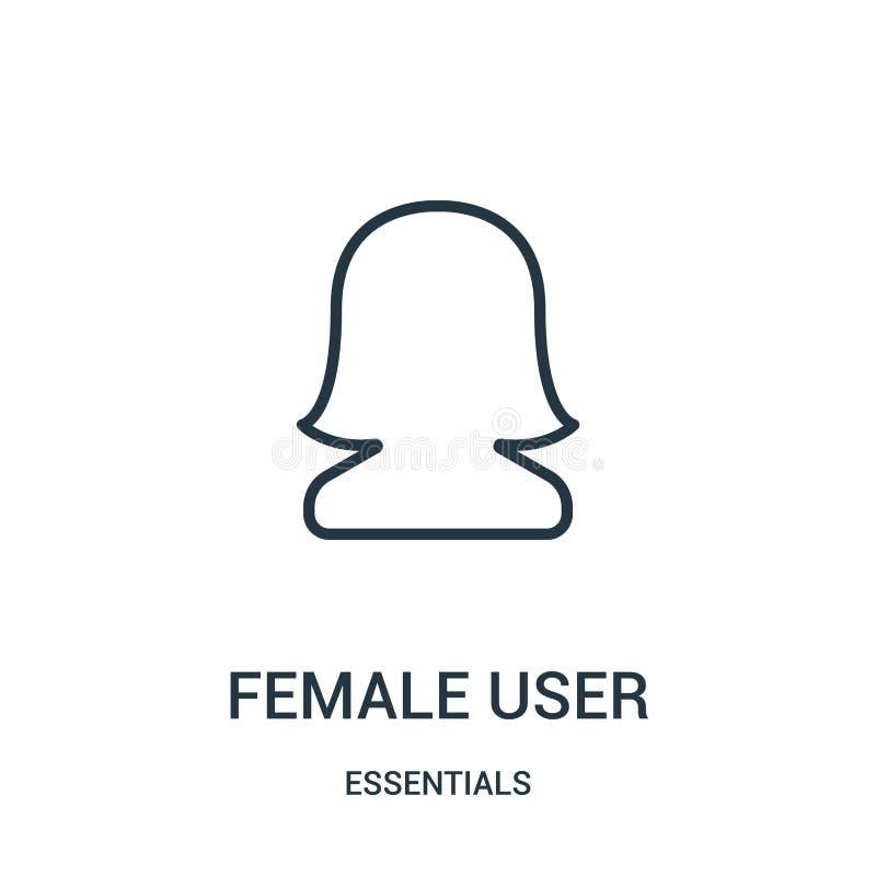 vecteur femelle d'icône d'utilisateur de collection de bases Ligne mince illustration femelle de vecteur d'icône d'ensemble d'uti illustration de vecteur