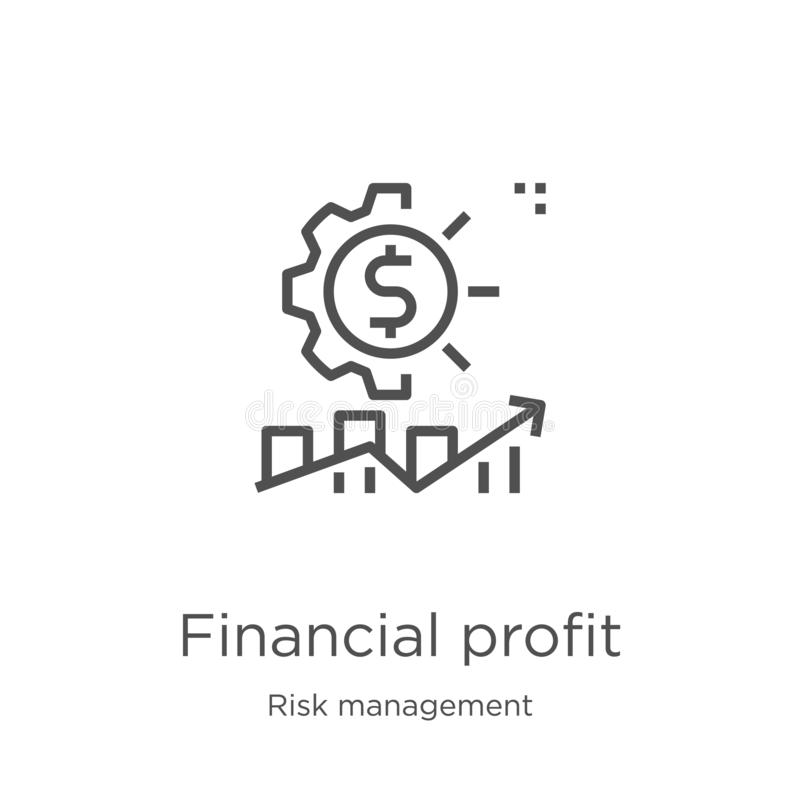 vecteur financier d'icône de bénéfice de collection de gestion des risques Ligne mince illustration financière de vecteur d'icône illustration libre de droits