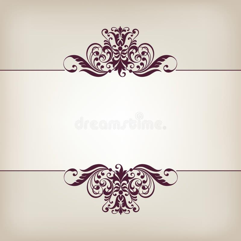 Vecteur fleuri décoratif de calligraphie de cadre de frontière de vintage illustration stock