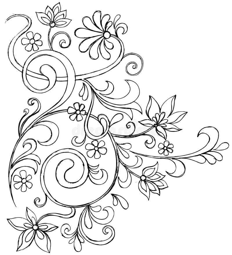 Vecteur fleuri de défilement de griffonnage peu précis illustration stock