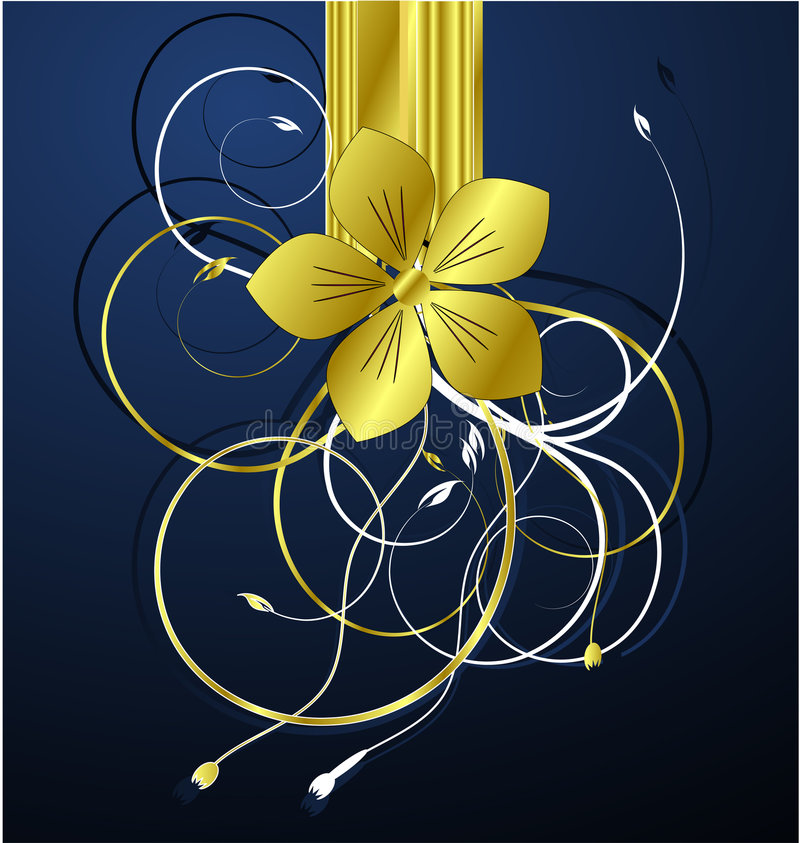 Vecteur floral d'or d'illustration illustration libre de droits