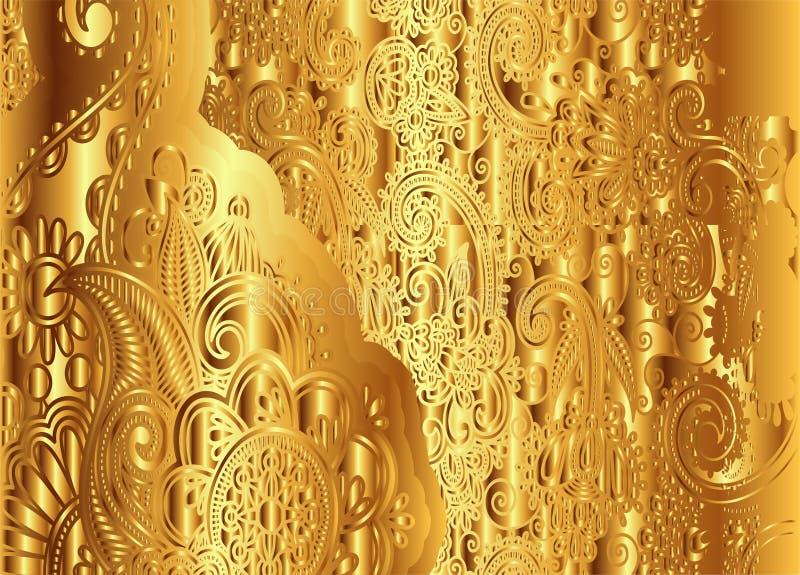 Vecteur floral d'or de modèle de vintage illustration de vecteur
