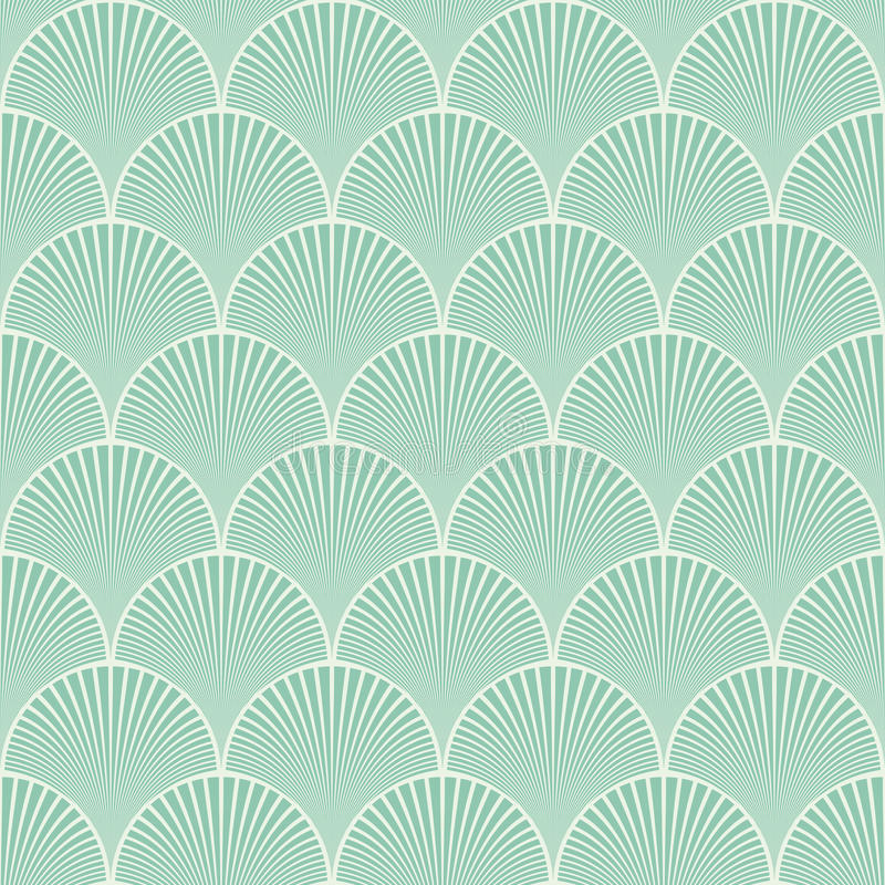 Vecteur floral de modèle de vagues d'art déco japonais sans couture de turquoise illustration de vecteur
