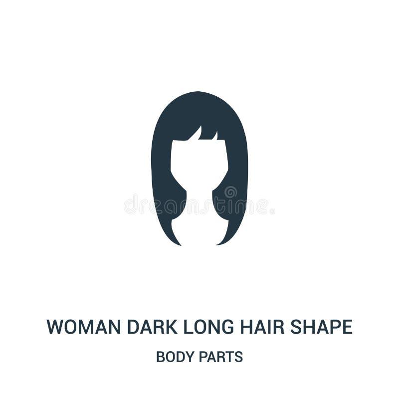 vecteur foncé d'icône de forme de cheveux de femme long de collection de parties du corps Ligne mince vecteur foncé d'icône d'ens illustration libre de droits
