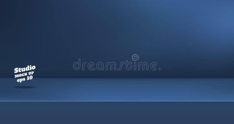 Vecteur, fond mat vide de pi?ce de table de studio de couleur de bleu marine, affichage de produit avec l'espace de copie pour l' illustration libre de droits