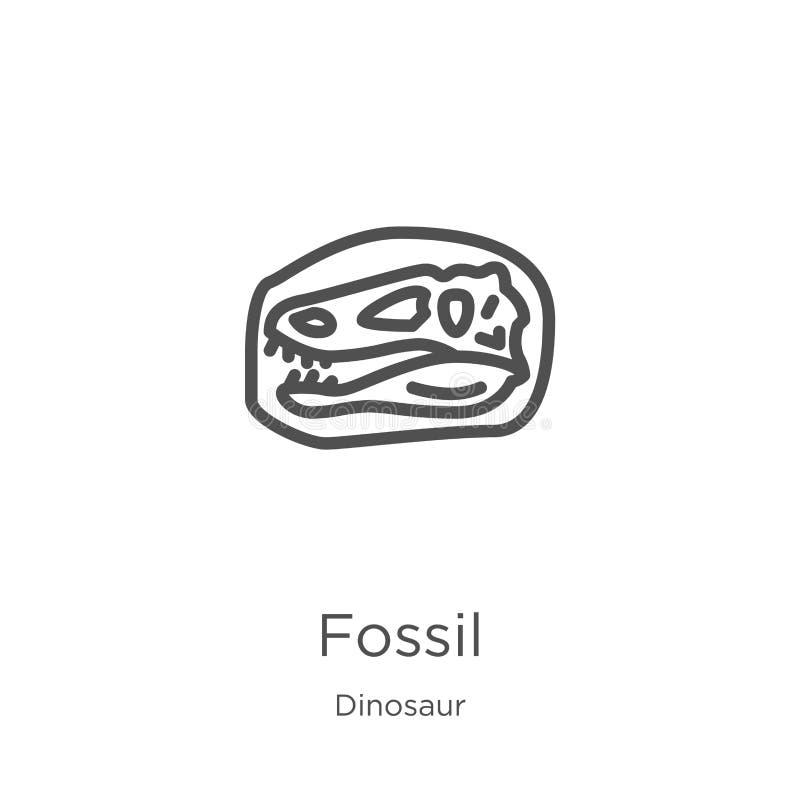 vecteur fossile d'icône de collection de dinosaure Ligne mince illustration fossile de vecteur d'icône d'ensemble Contour, ligne  illustration de vecteur