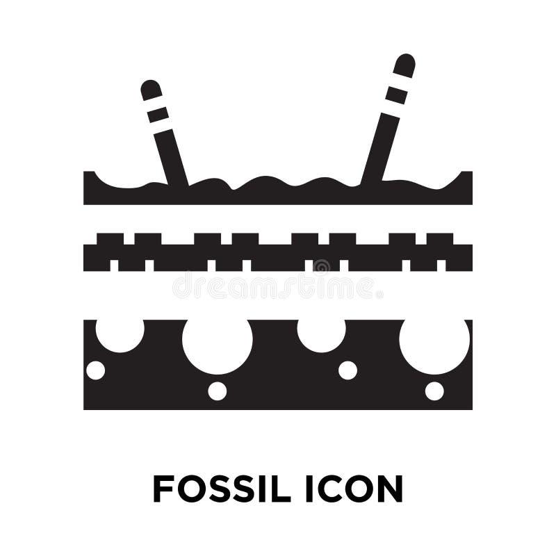 Vecteur fossile d'icône d'isolement sur le fond blanc, concept de logo de illustration libre de droits