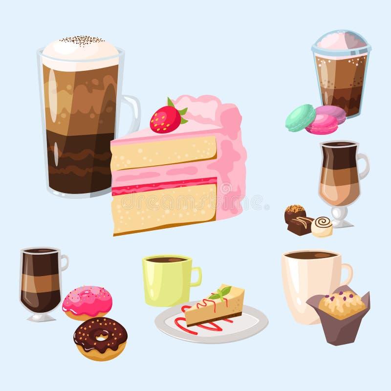 Vecteur frais de cappuccino de boissons de noisette de petits pains de gâteau de café de tasse de matin de boulangerie de pâtisse illustration de vecteur